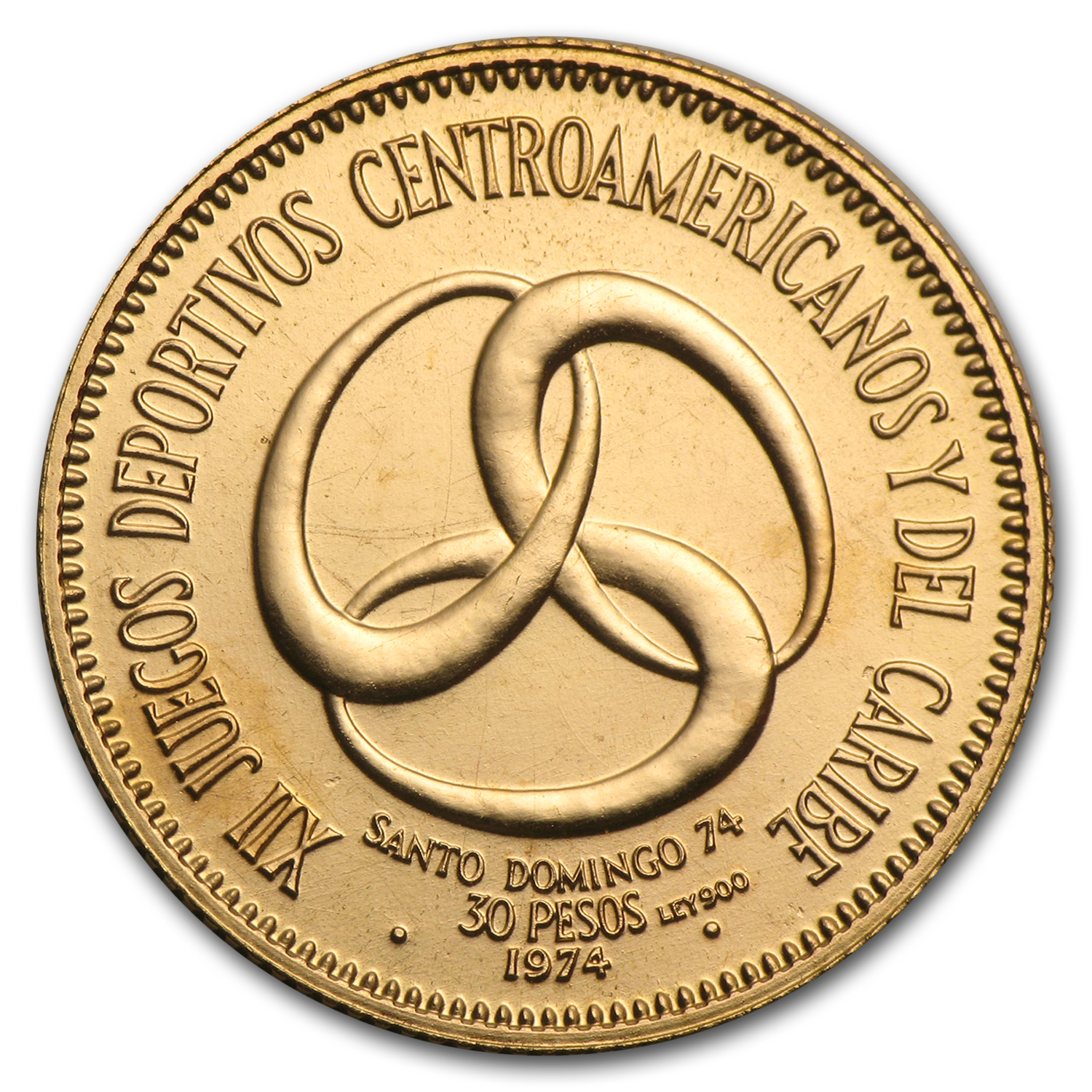 1974 Dominican Republic Gold 30 Pesos BU (AGW .3385)