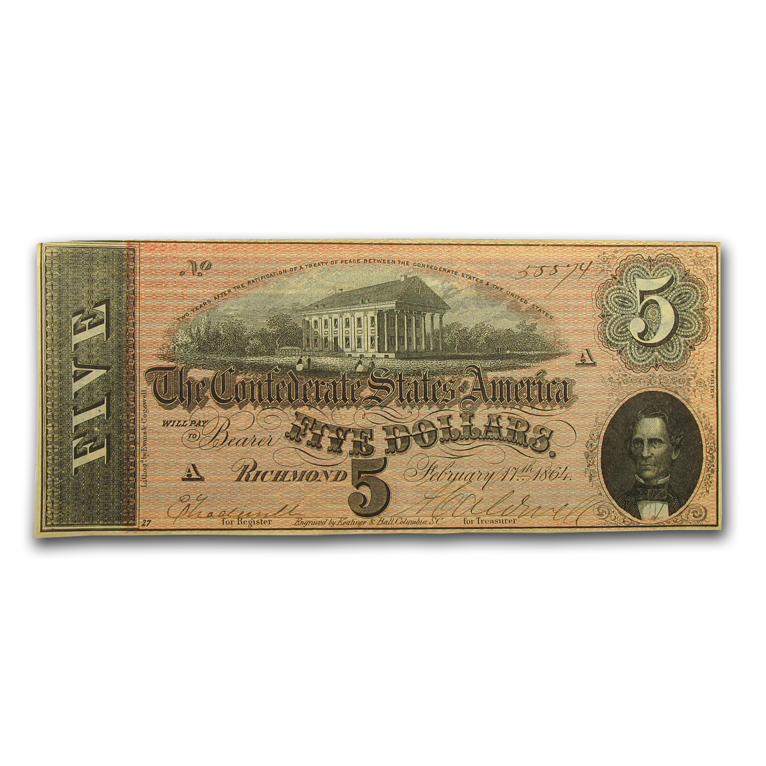 1864 $5.00 (T-69) Capitol @ Richmond, VA XF