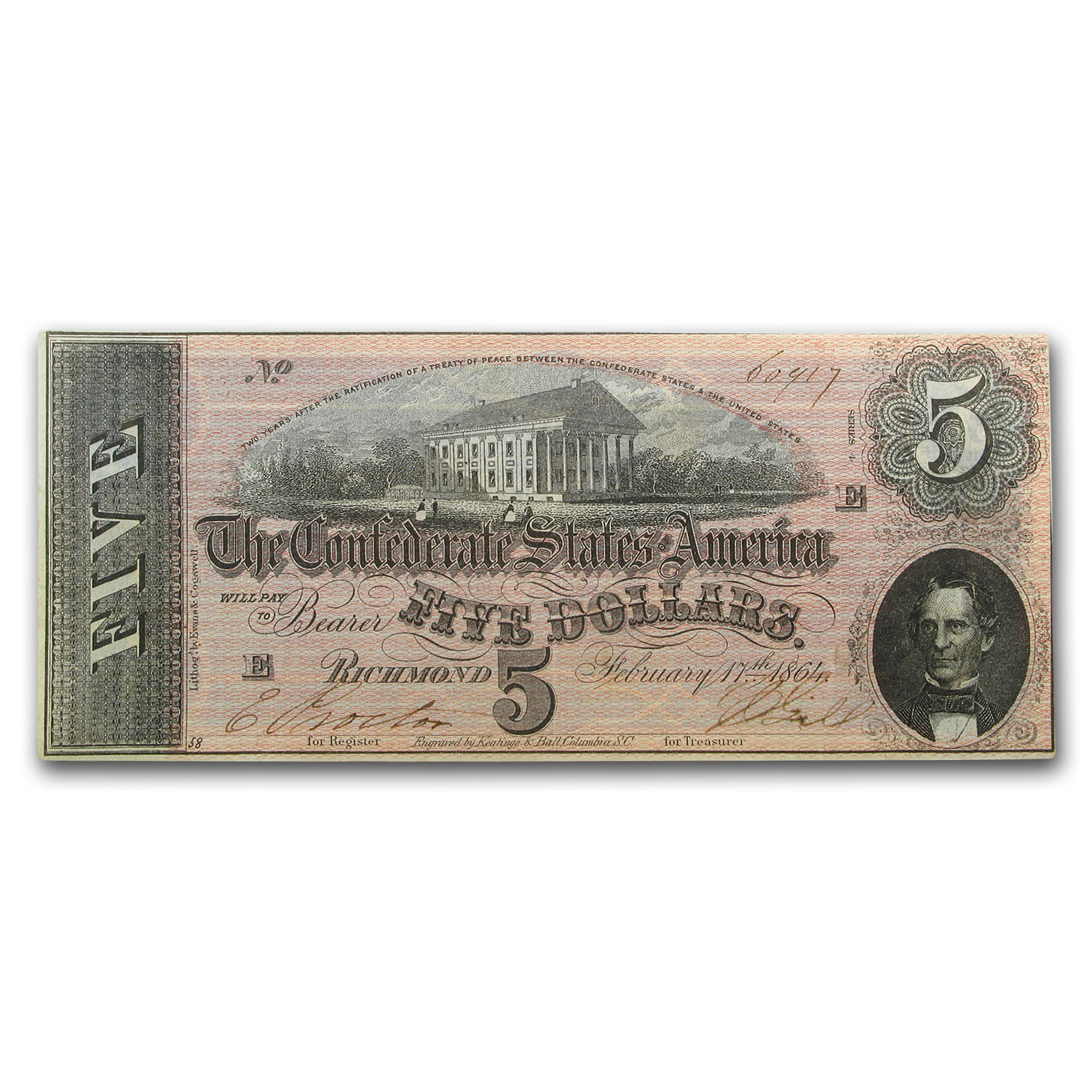 1864 $5.00 (T-69) Capitol @ Richmond, VA AU