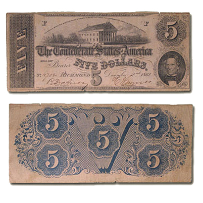 1862 $5.00 (T-53) Capitol @ Richmond, VA VF