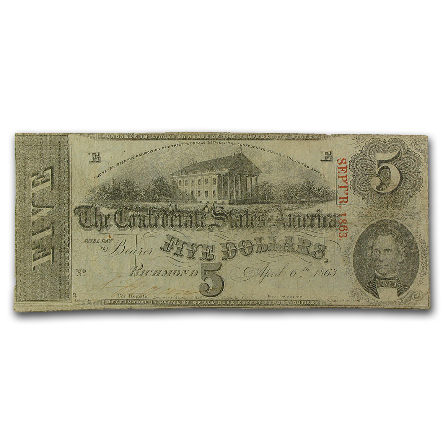 1863 $5.00 (T-60) Capitol @ Richmond, VA VF (Cancelled)
