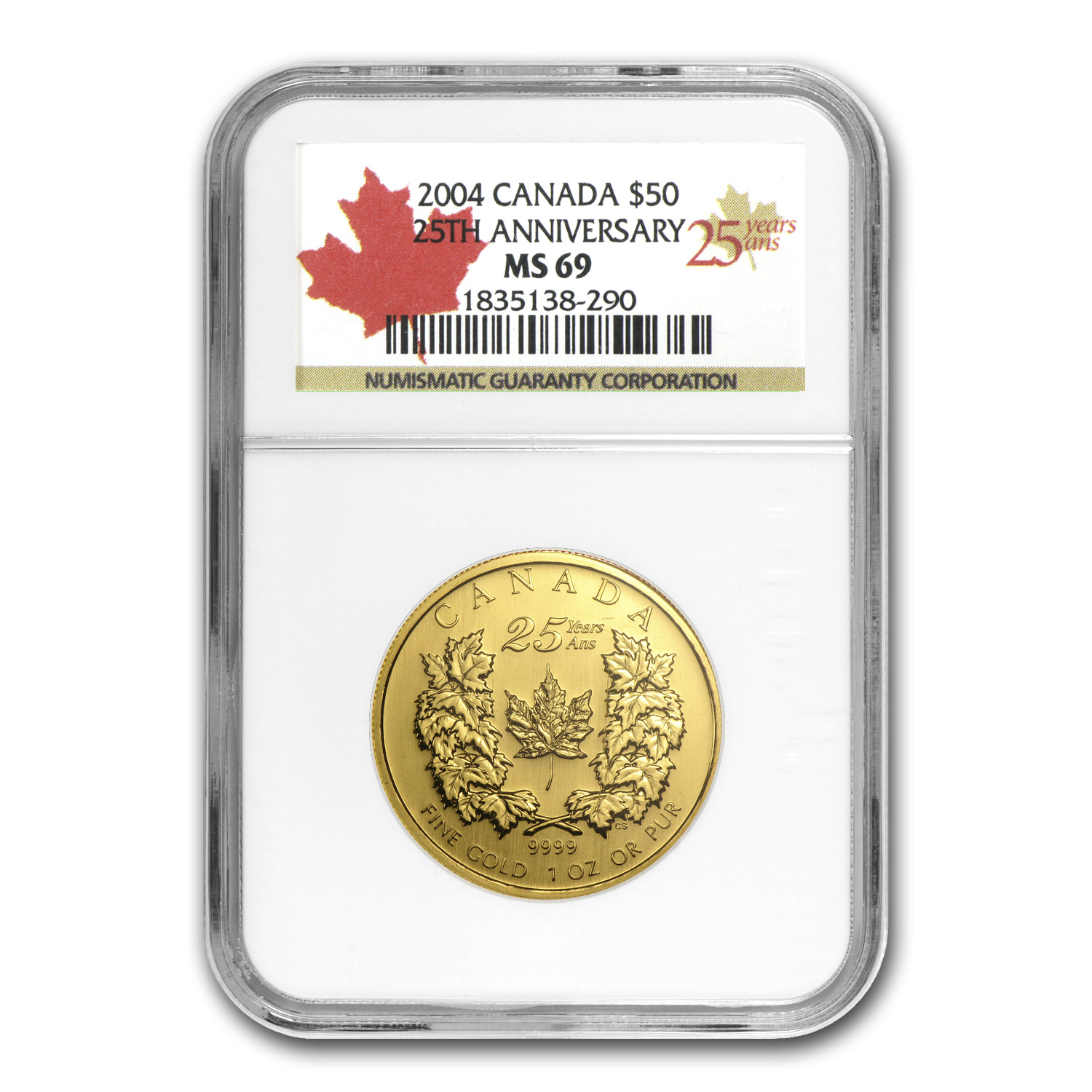 2004 1 oz Gold Canadian Maple Leaf MS-69 NGC (25th Anniv)