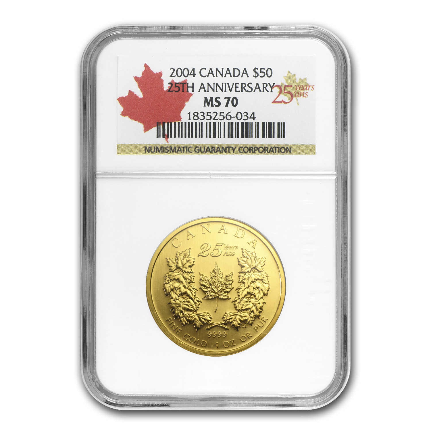 2004 1 oz Gold Canadian Maple Leaf (25th Ann) MS-70 NGC