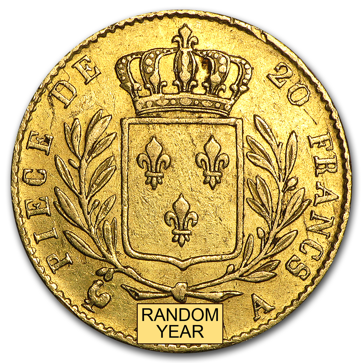 1814-1815 France Gold 20 Francs Louis XVIII Average Circulated