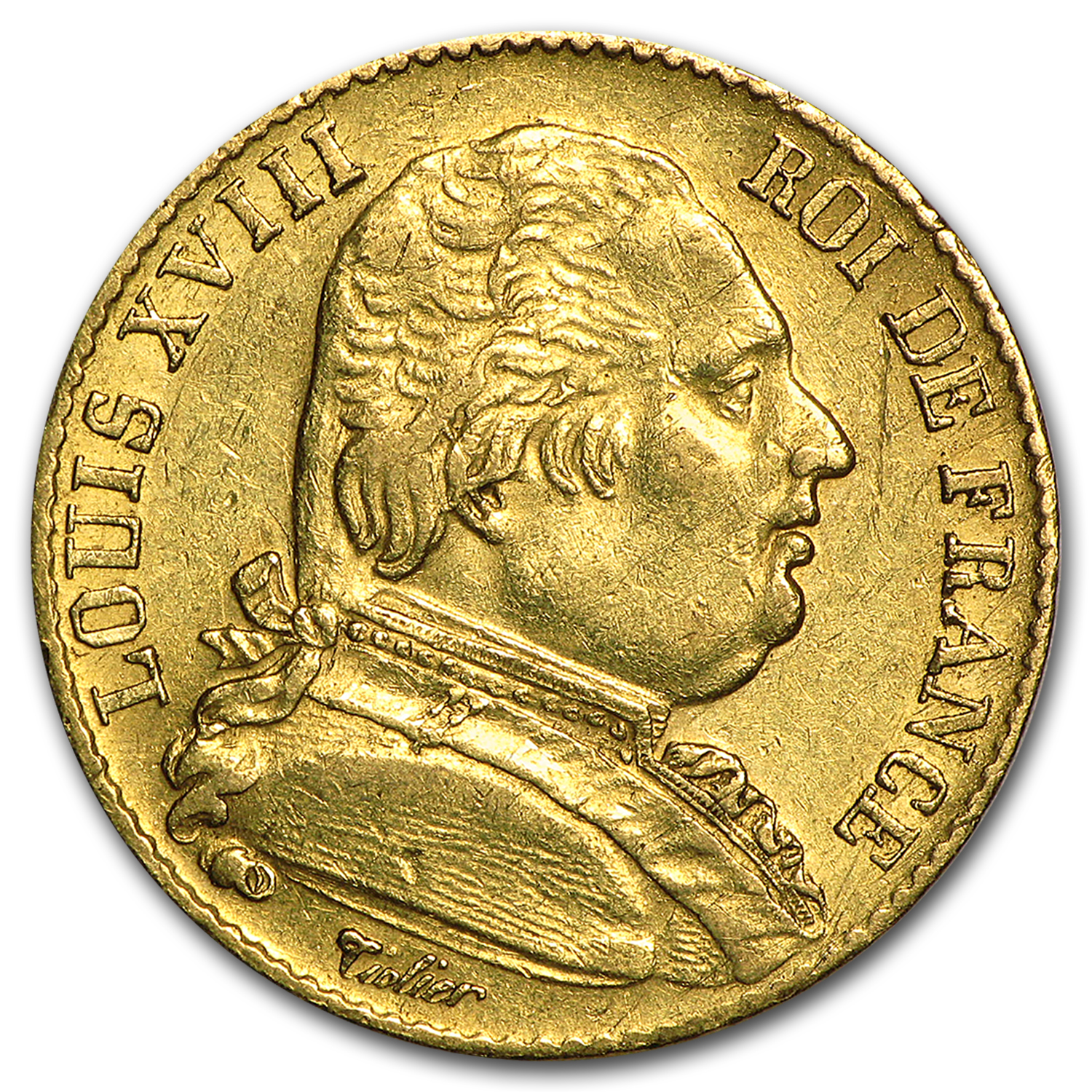 1814-1815 France Gold 20 Francs Louis XVIII Avg Circ