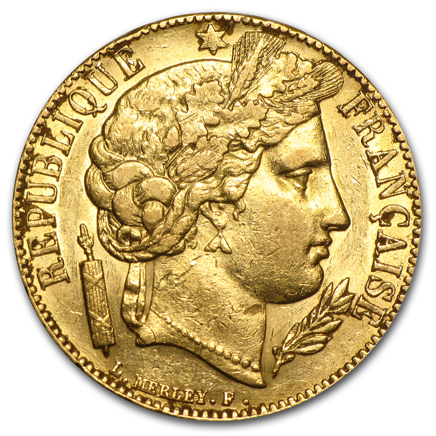 1850-1851 France Gold 20 Francs Early Head Ceres XF