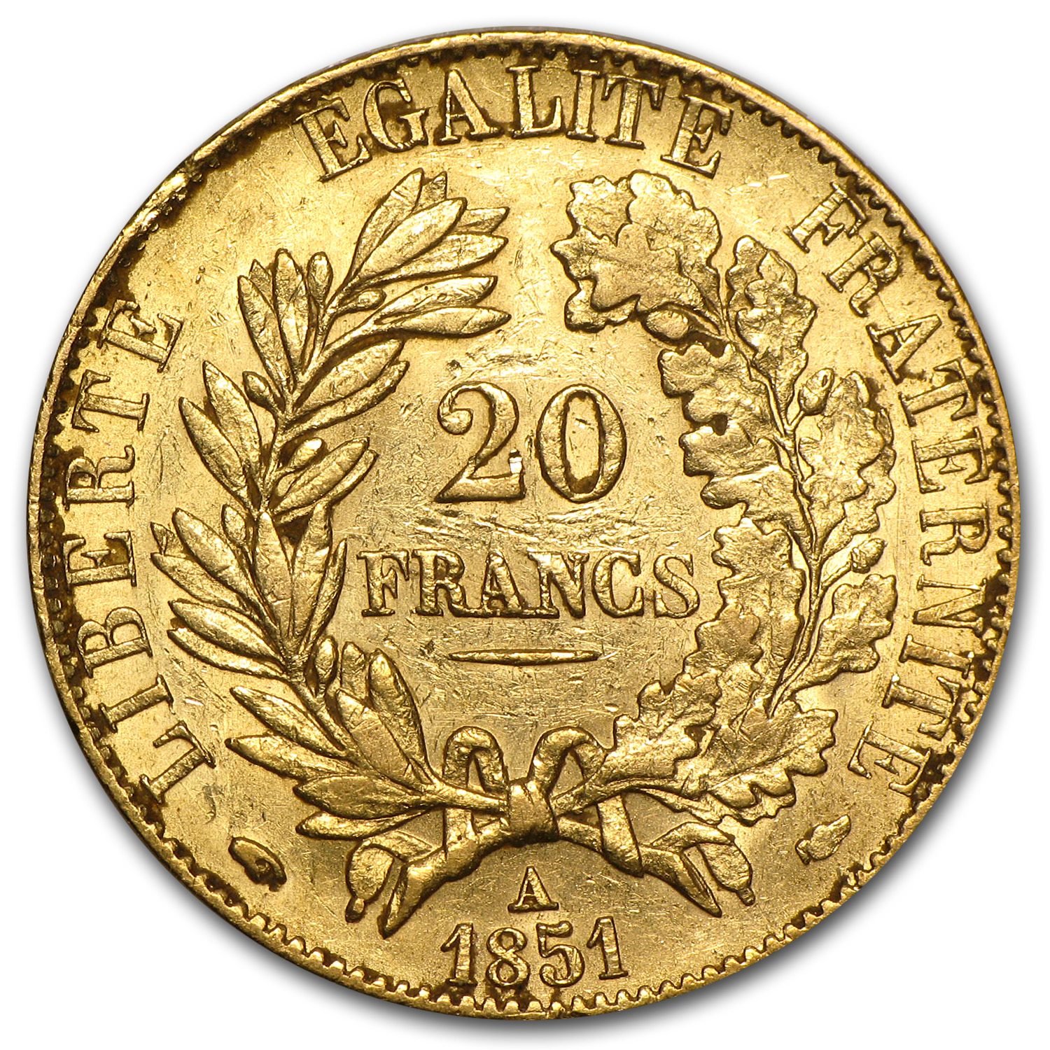 France Gold 20 Francs (1850-1851 Early Head Ceres) (XF)
