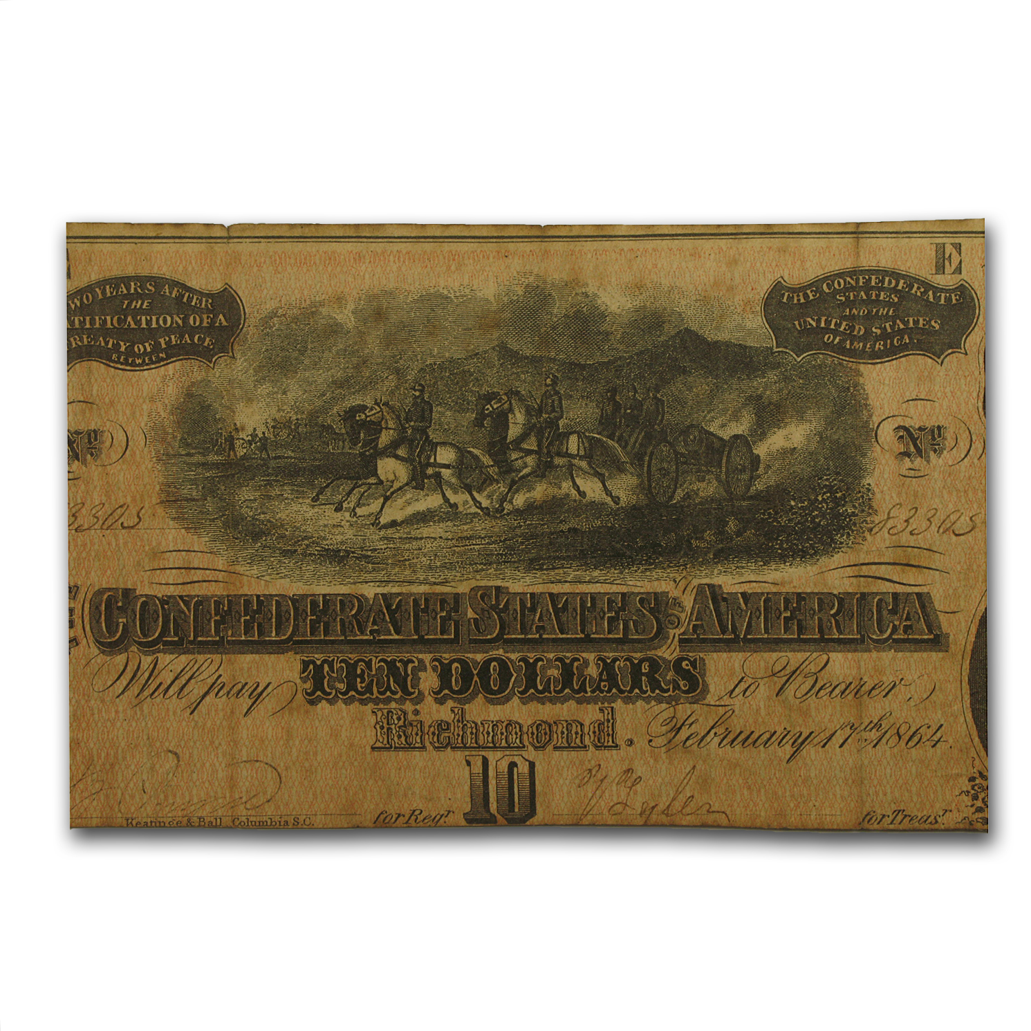 1864 $10 (T-68) Horses Pulling Cannon VF
