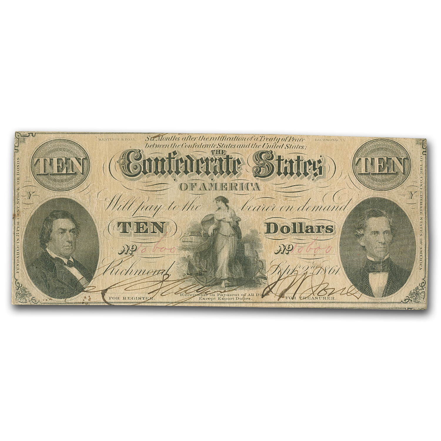 1861 $10 (T-25) Hunter & Memminger VF