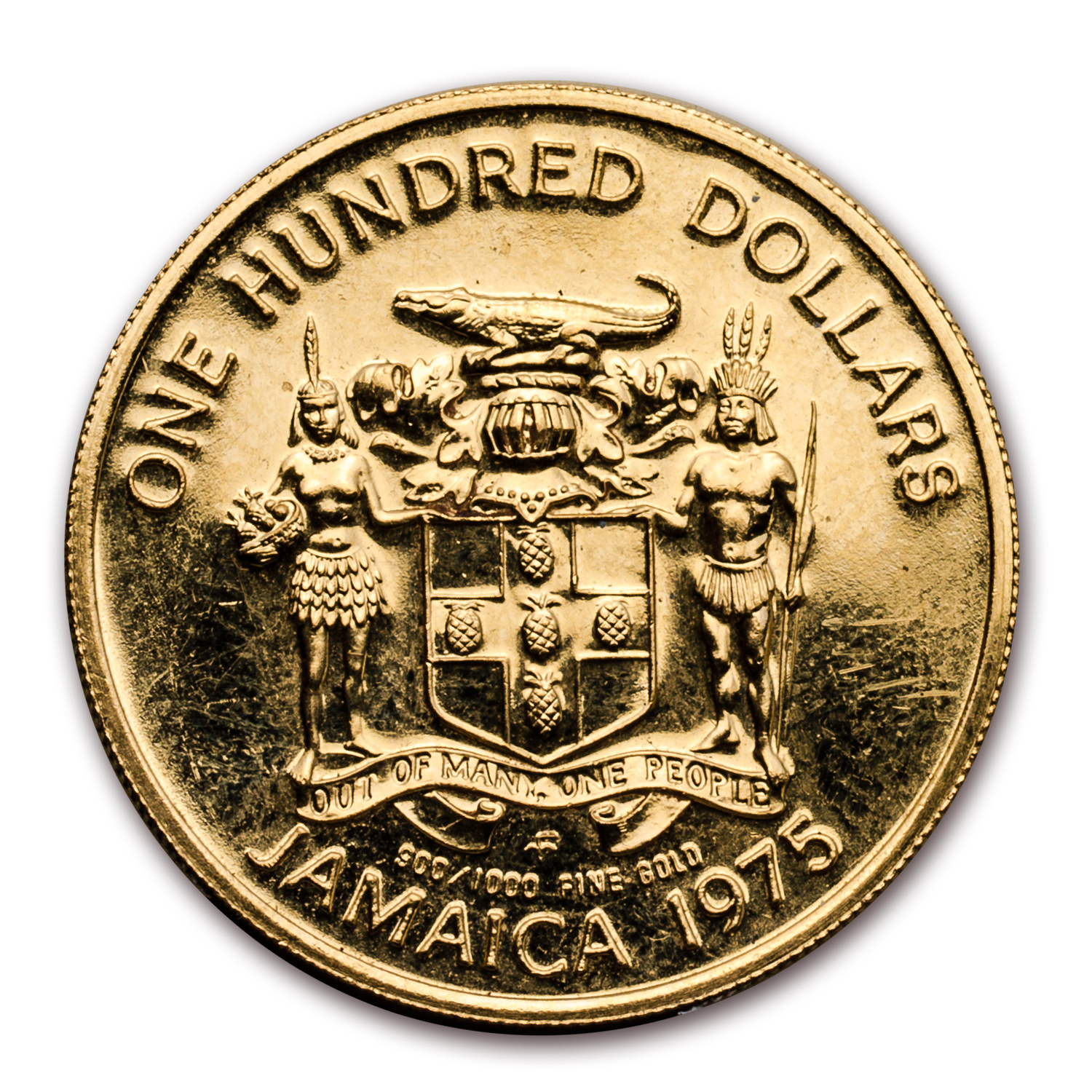 1975 Jamaica Gold 100 Dollars - Columbus Scruffy