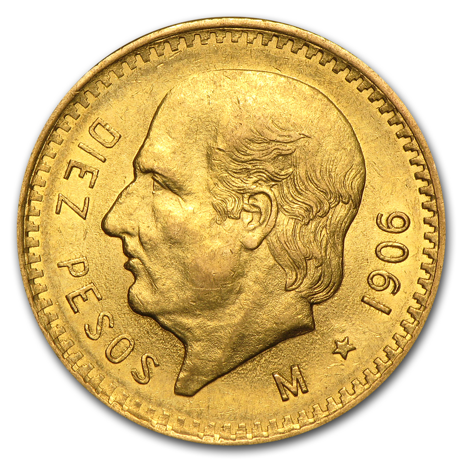 1906 Mexico Gold 10 Pesos AU