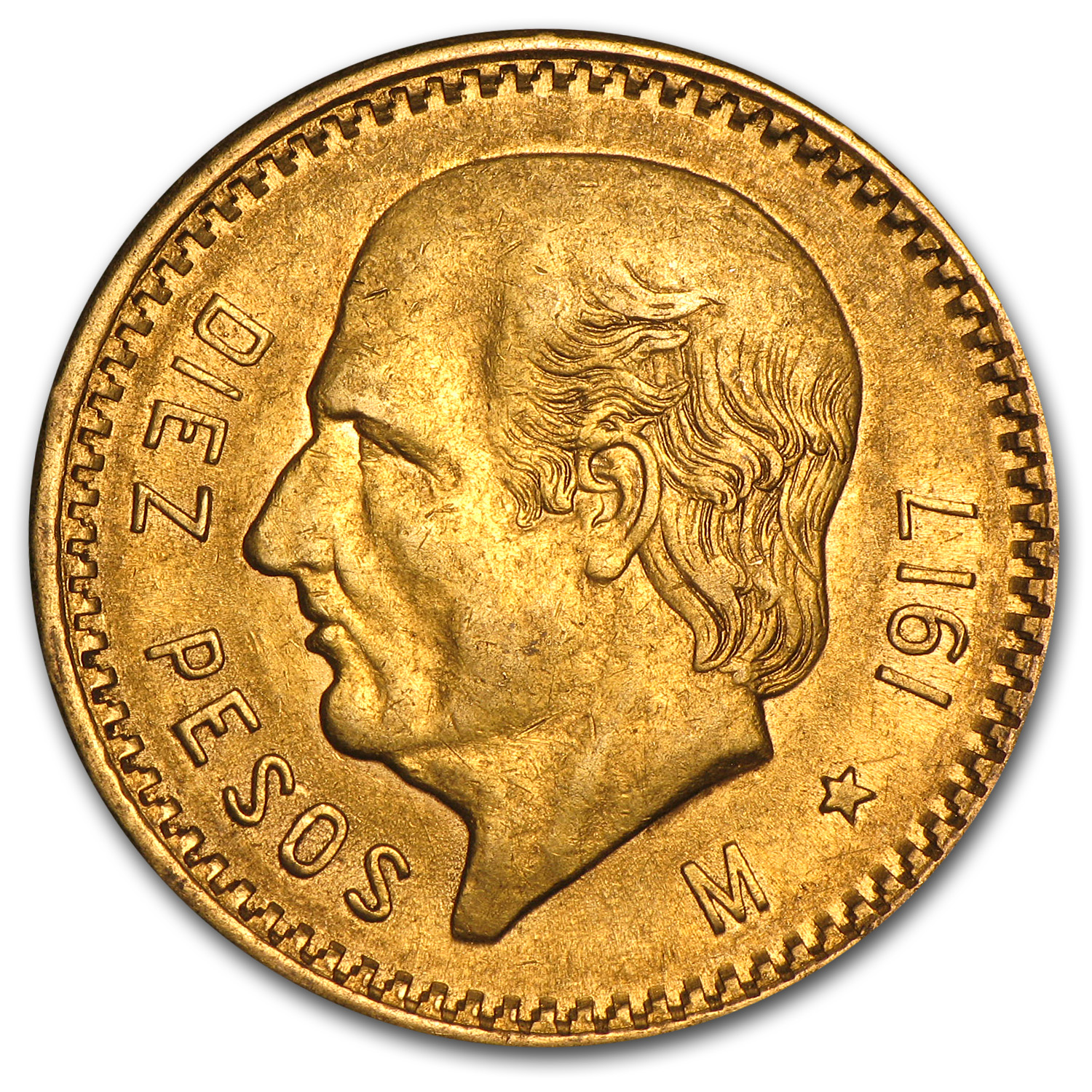 1917 Mexican Gold 10 Pesos (Almost Uncirculated)