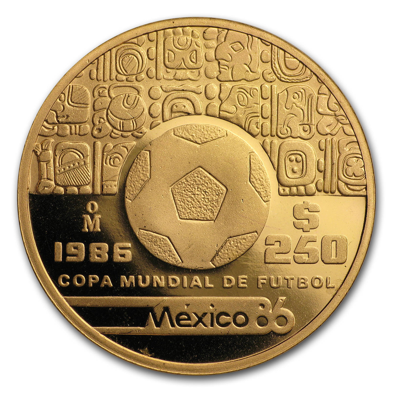 1986 Mexico Gold 250 Pesos Proof (World Cup)