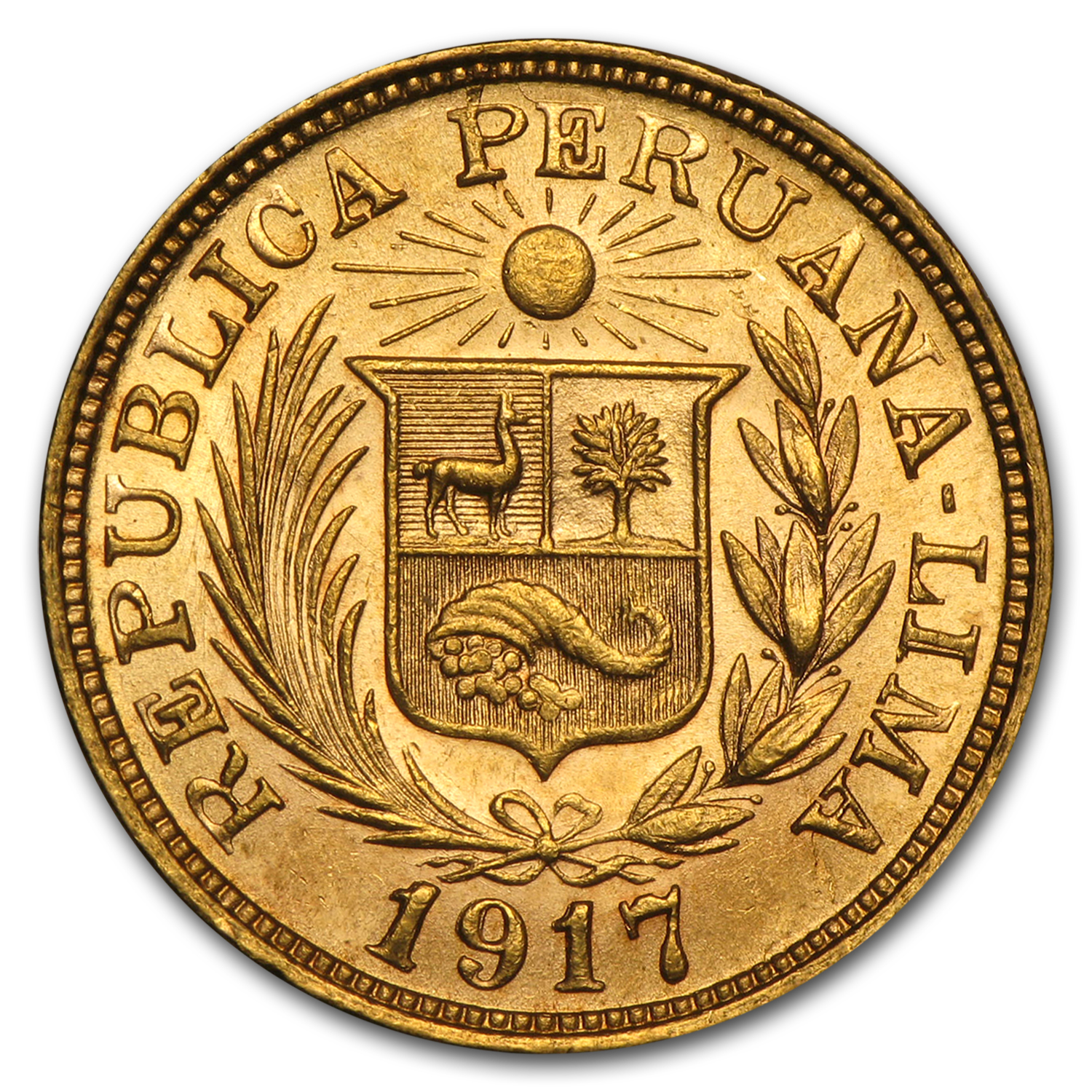 Peru 1 Gold Libra AGW. .2354 - Almost Uncirculated