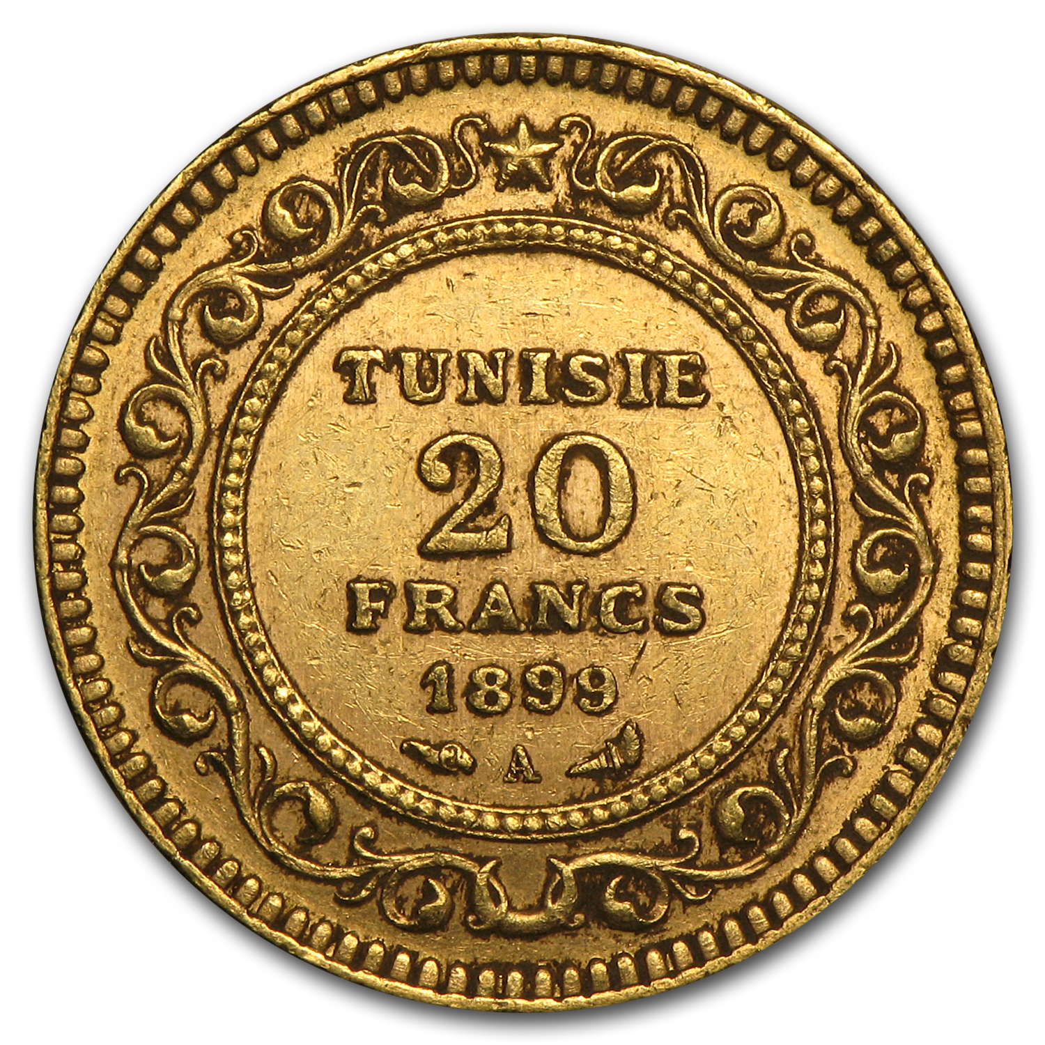 Tunisia Gold 20 Francs (Avg Circ) Random Dates