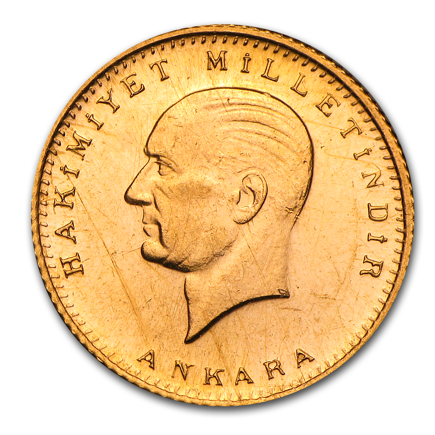 1923 Turkey Gold 50 Kurush BU (Random)