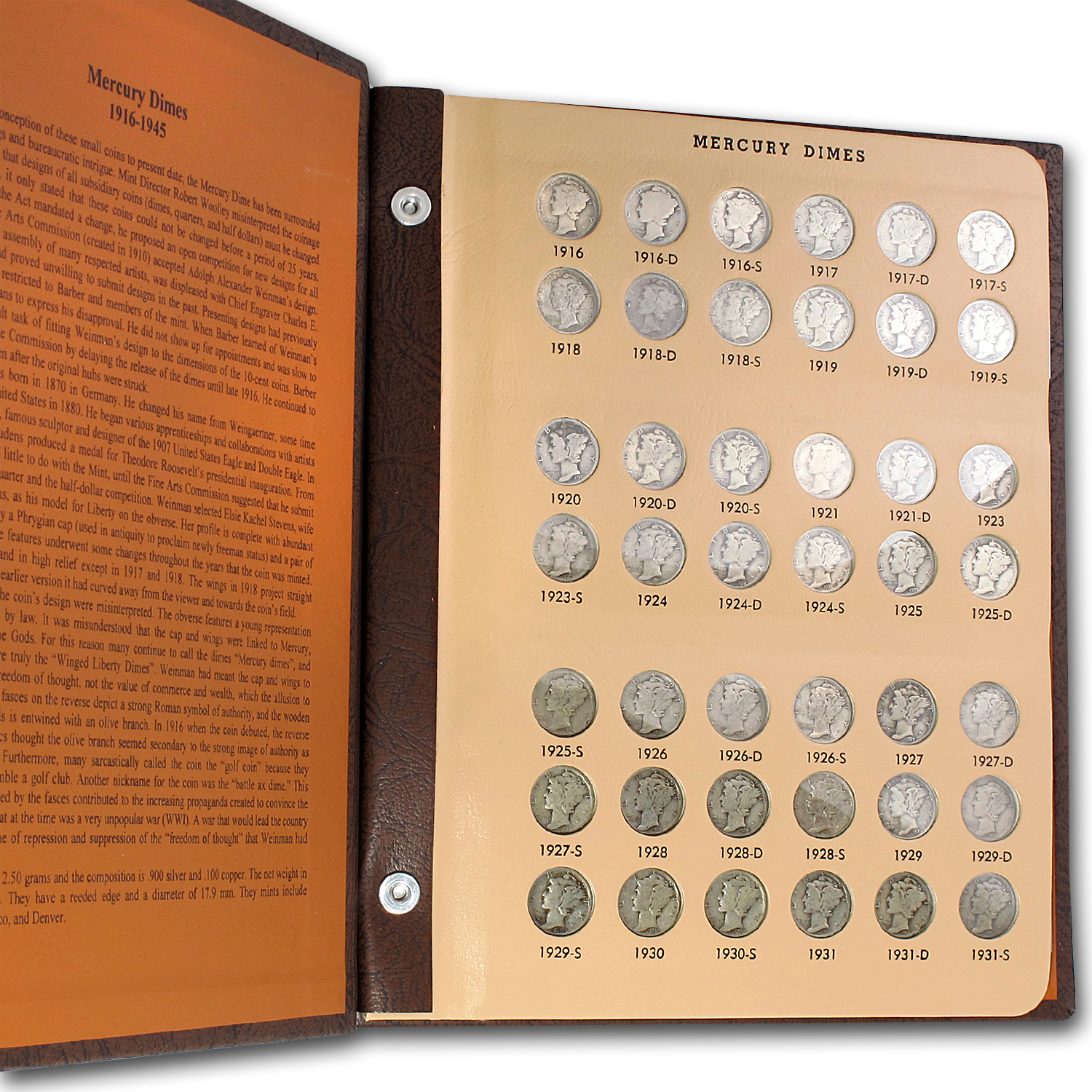 1916 - 1945 COMPLETE MERCURY DIME SET in Dansco Album