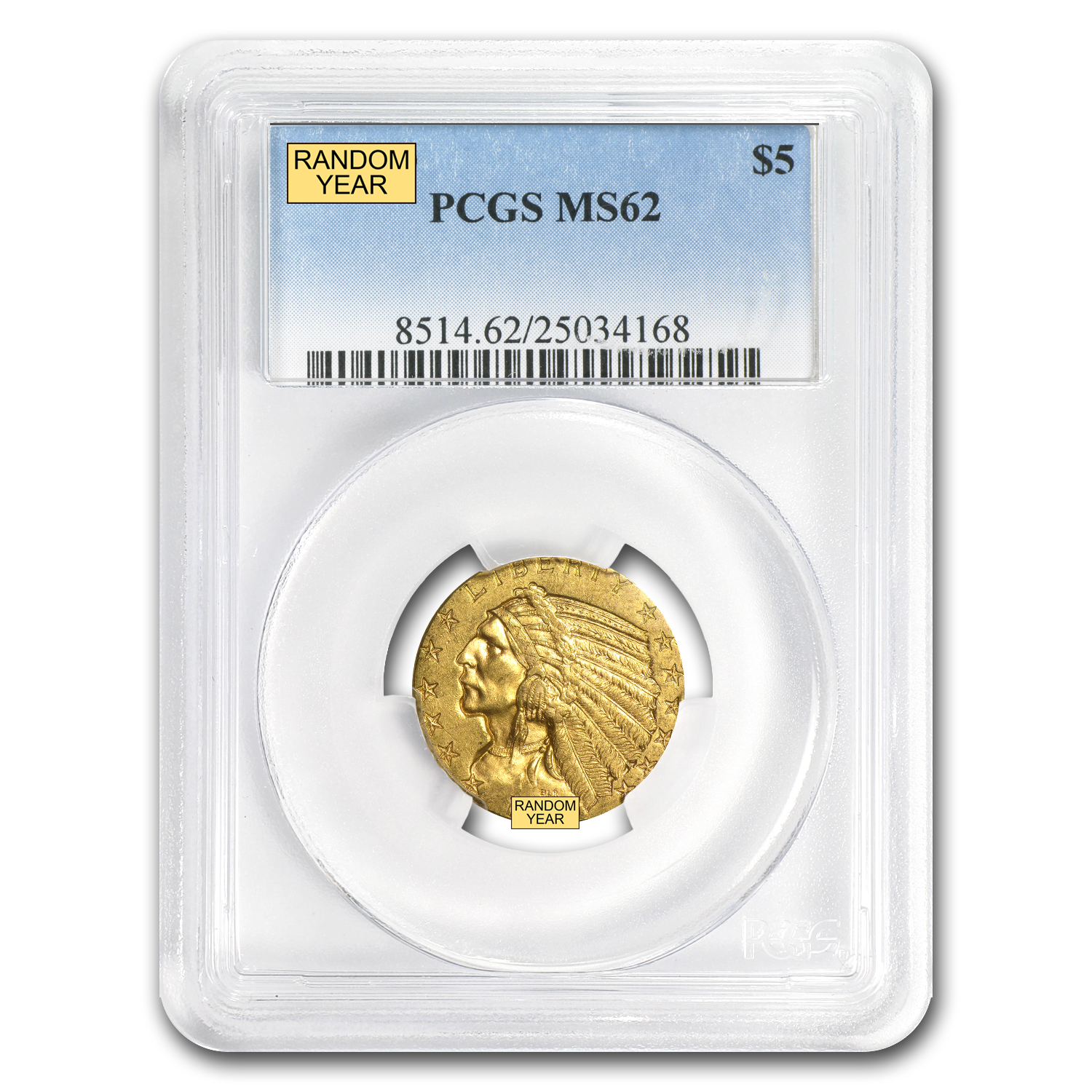 $5 Indian Gold Half Eagle - MS-62 PCGS