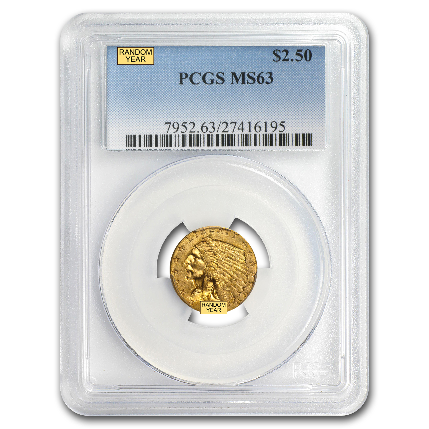$2.50 Indian Gold Quarter Eagle MS-63 NGC or PCGS