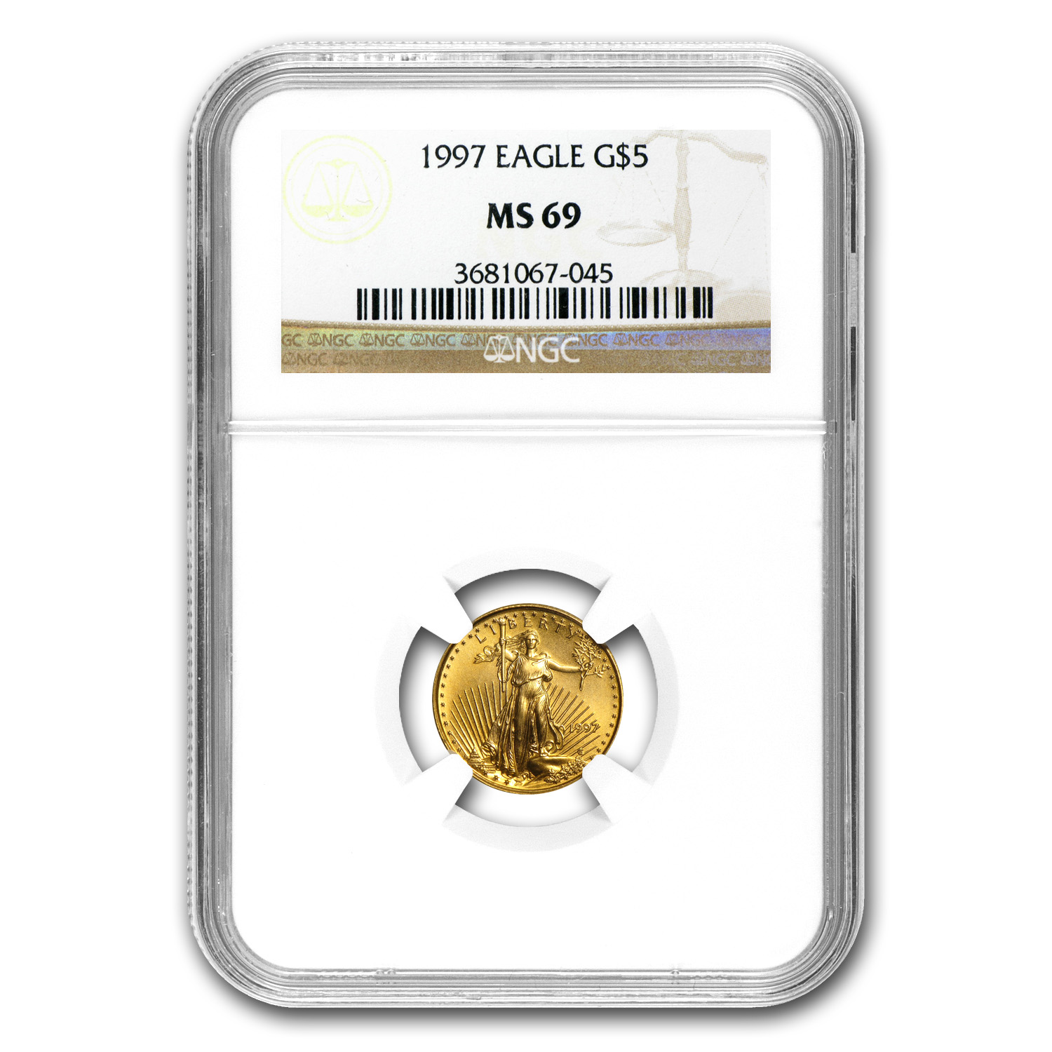 1997 1/10 oz Gold American Eagle MS-69 NGC