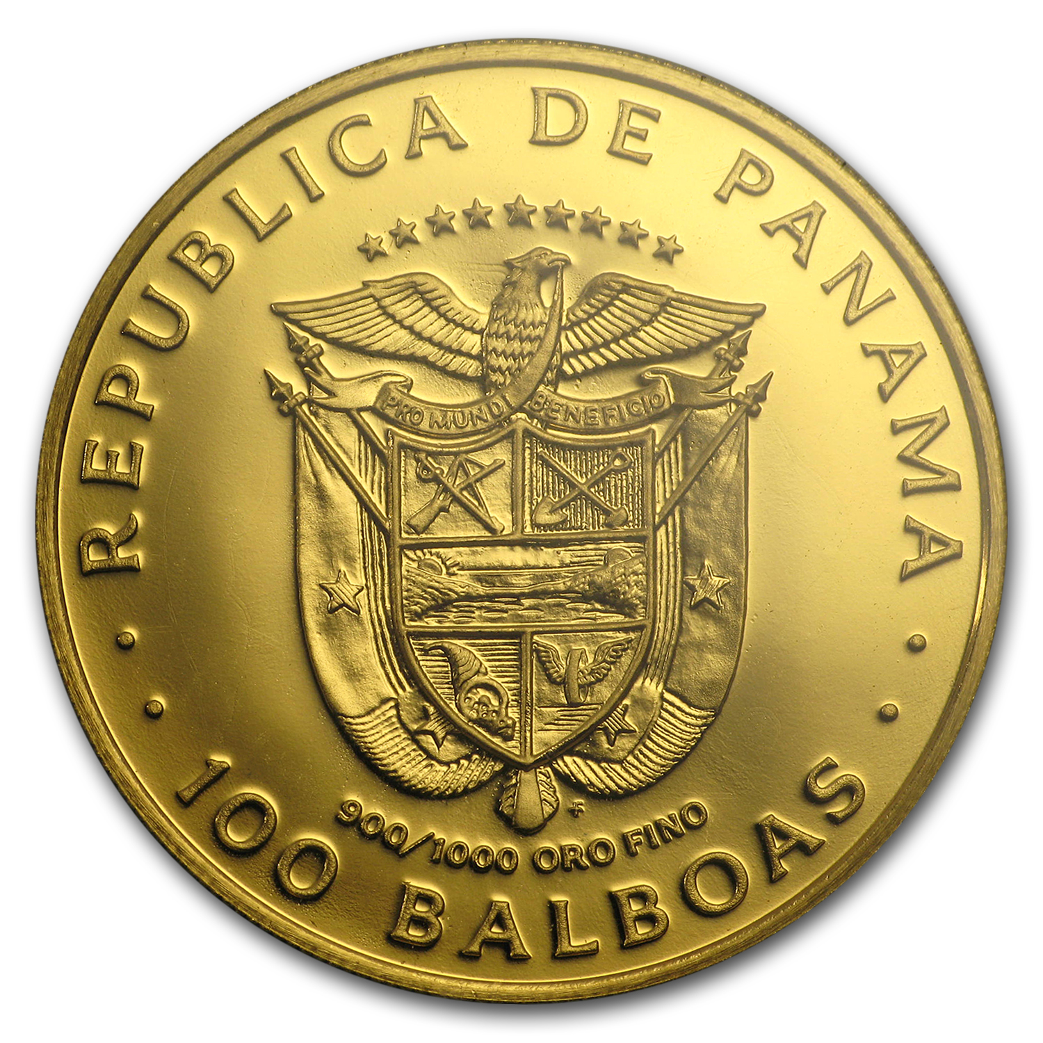 1975 Panama Proof Gold One Hundred Balboas