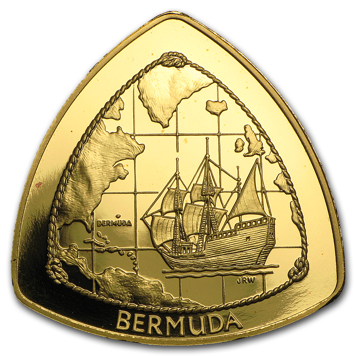 Bermuda 1998 Triangle 1oz Gold Coin. (Proof)