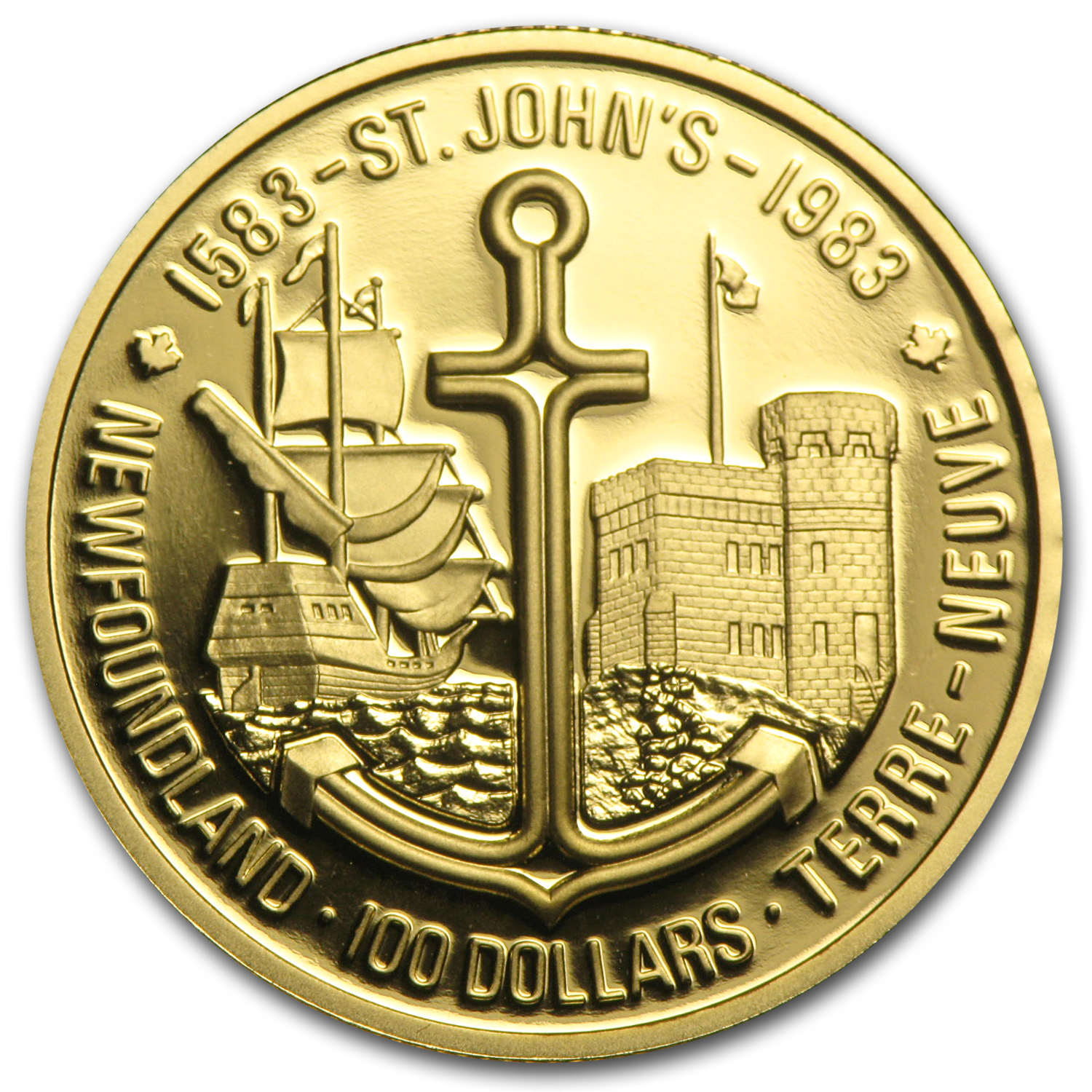1983 1/2 oz Gold Canadian $100 St. John's Newfoundland Proof