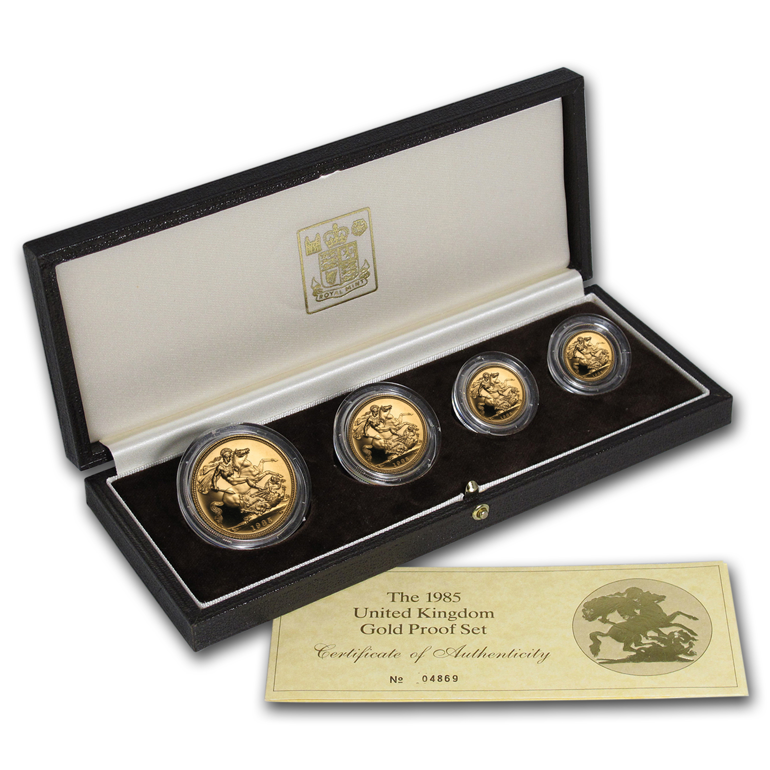 1985 Great Britain 4-Coin Gold Sovereign Proof Set