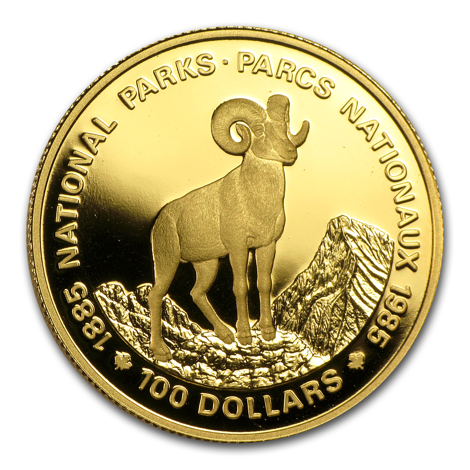 1985 Canada 1/2 oz Proof Gold $100 National Parks (Bighorn)