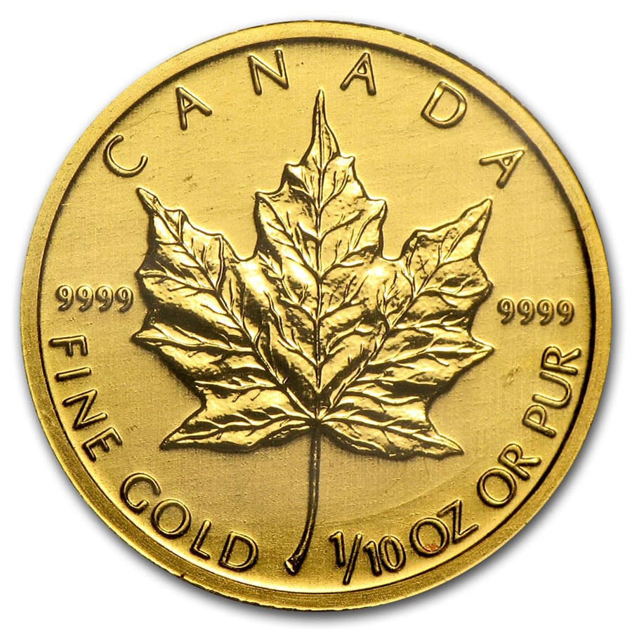1/10 oz Gold Canadian Maple Leaf - Random Year