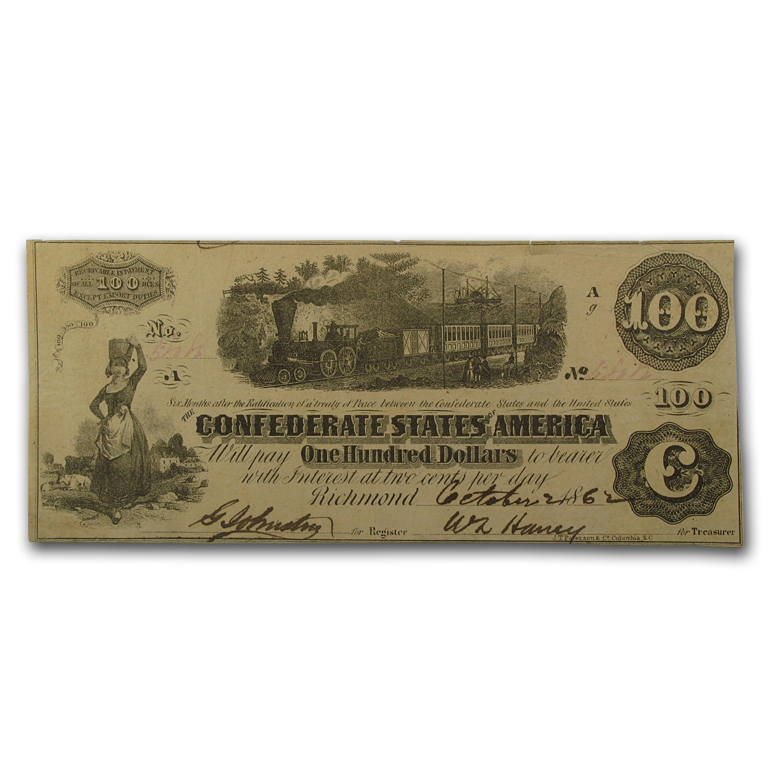 1862 $100 (T-40) Train Diffused Steam VF/XF