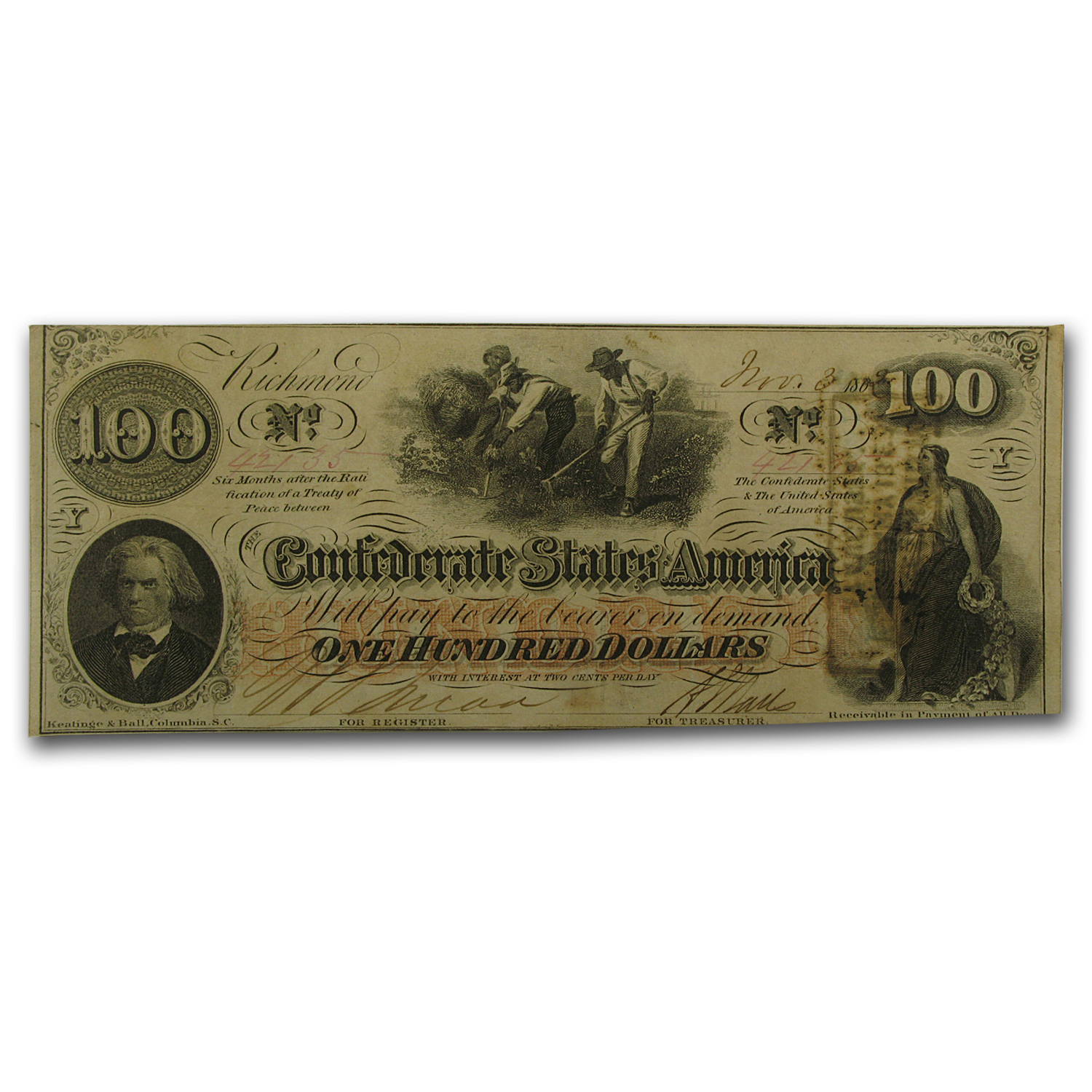 1862 $100 (T-41) Slaves Hoeing Cotton AU