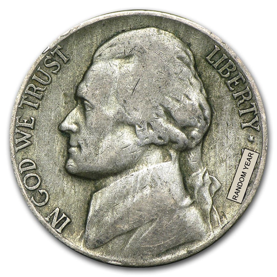 35% Silver War Nickels $1 Face Value Avg Circ