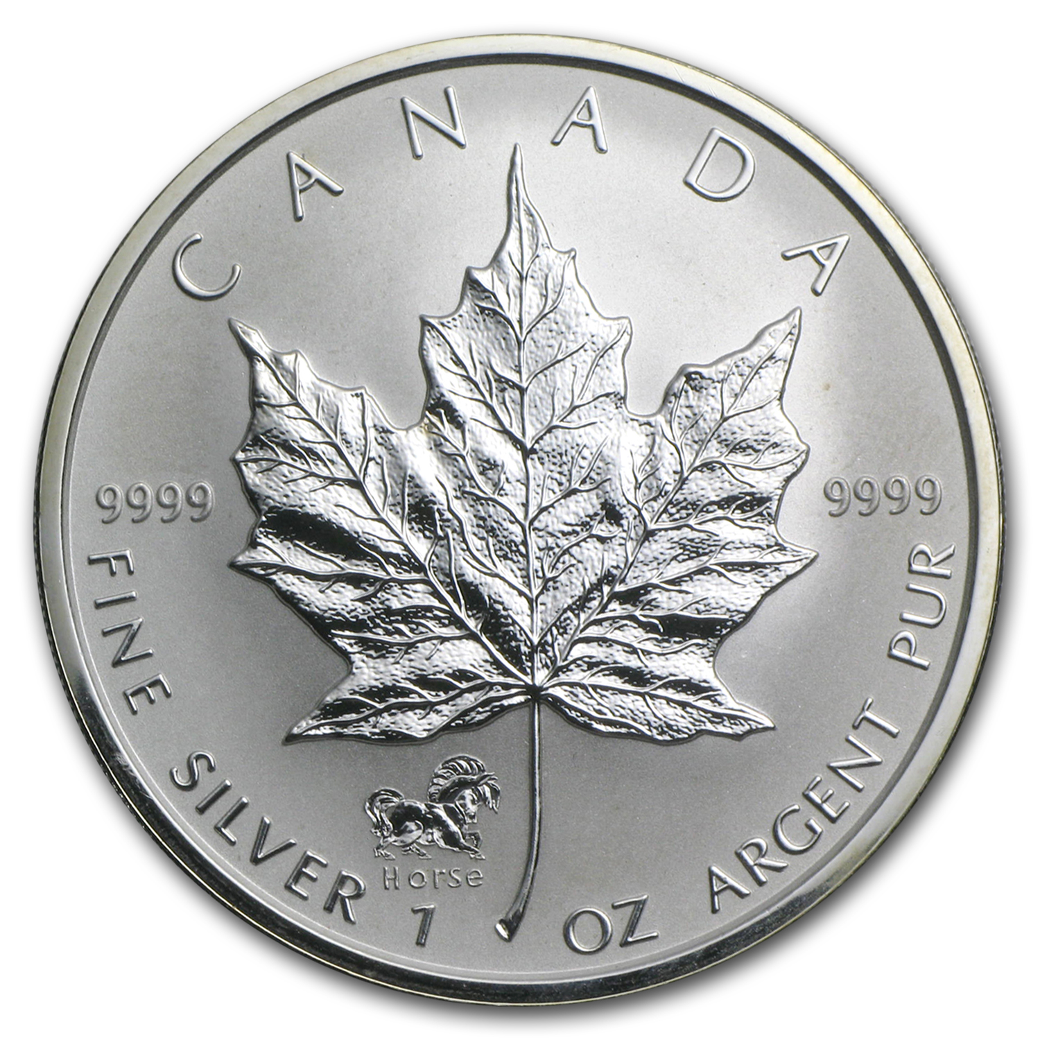2002 1 oz Silver Canadian Maple Leaf Lunar HORSE Privy