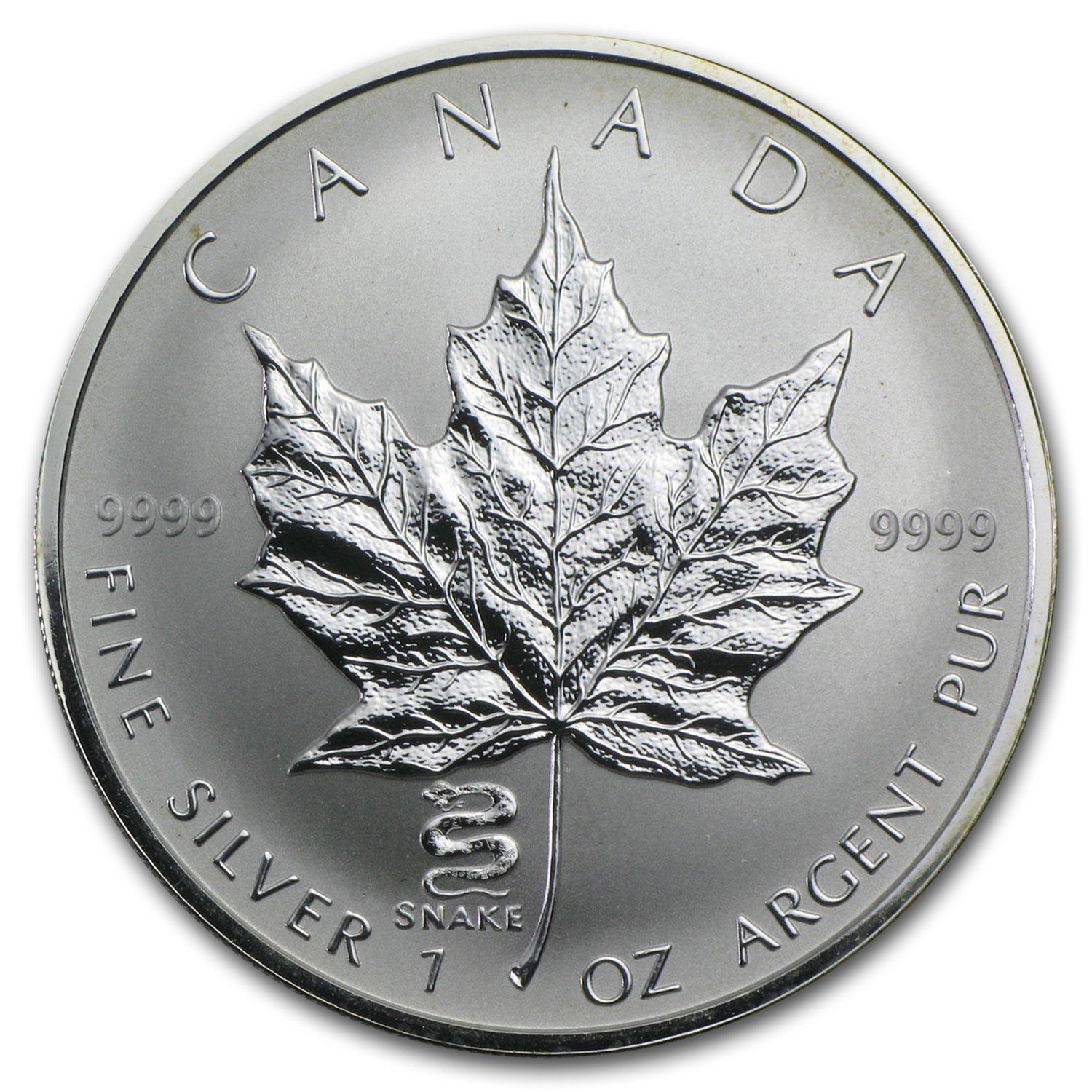 2001 1 oz Silver Canadian Maple Leaf - Lunar SNAKE Privy
