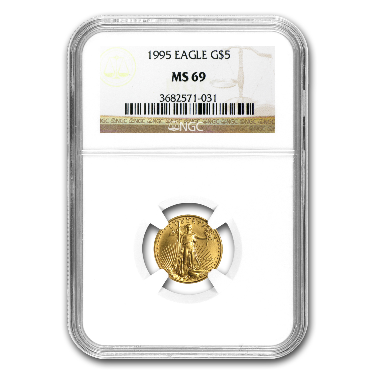 1995 1/10 oz Gold American Eagle MS-69 NGC