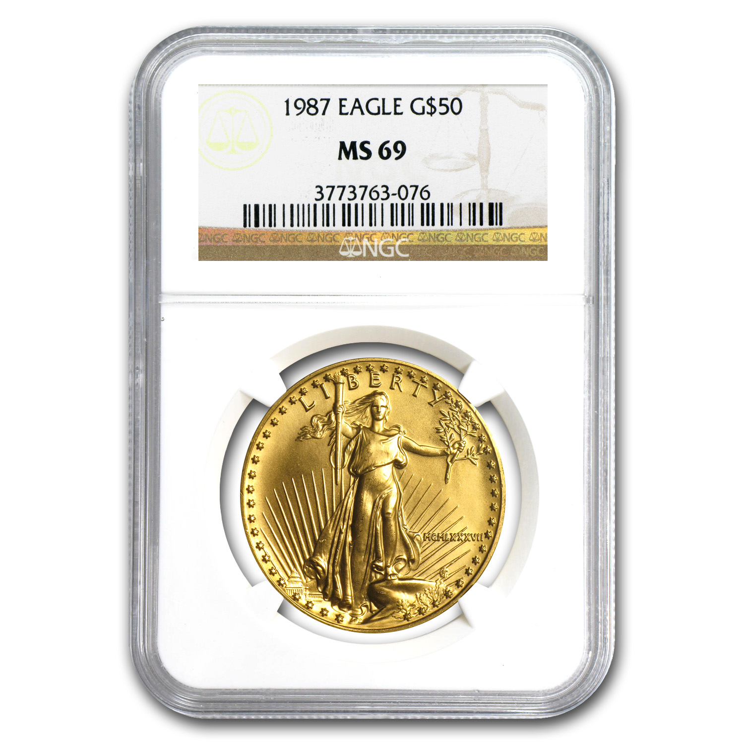 1987 1 oz Gold American Eagle MS-69 NGC