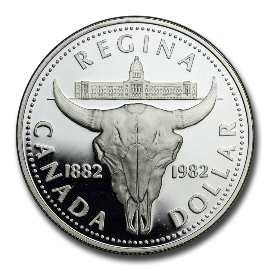 1982 Canada Silver Dollar Bison Skull Proof
