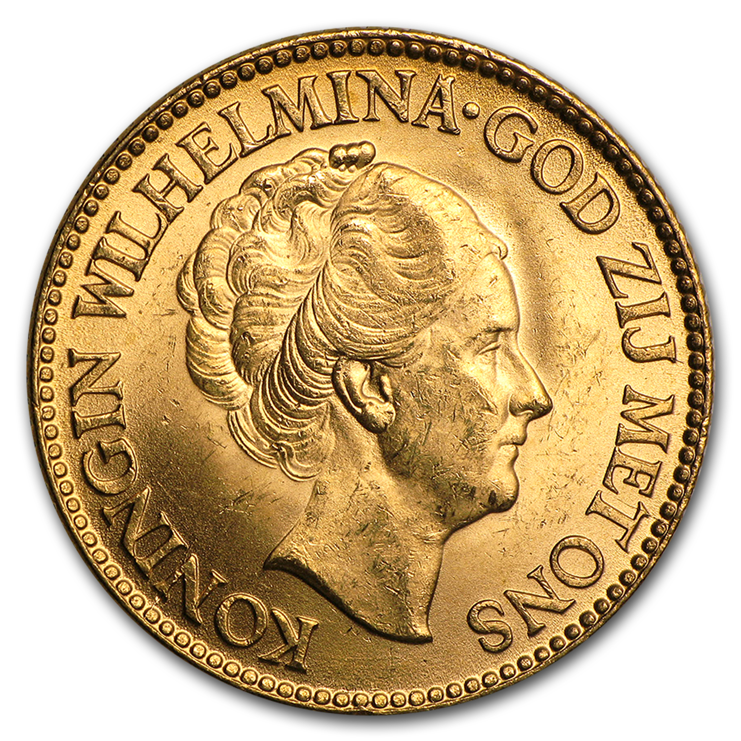 Netherlands Gold 10 Guilders BU