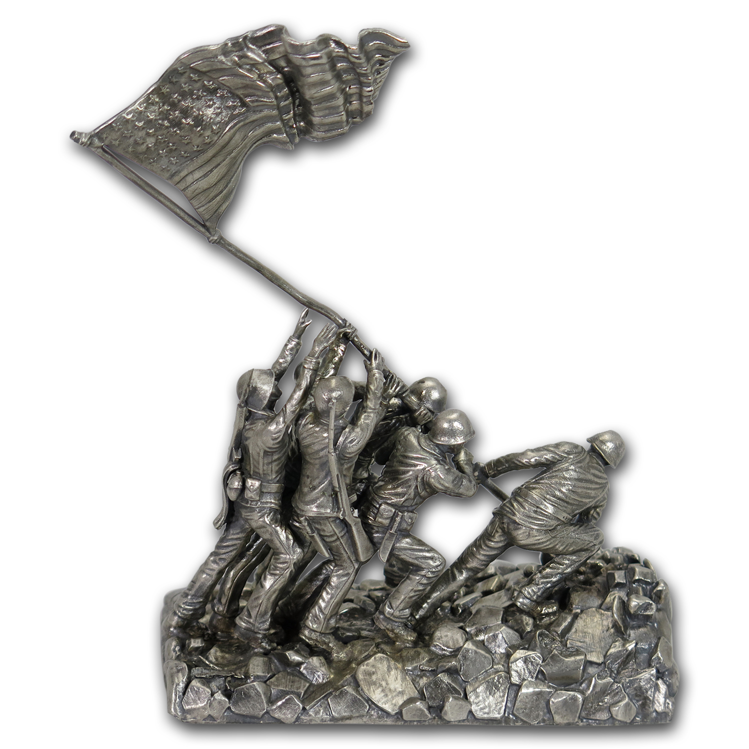 30 oz Silver Antique Statue - Raising the Flag on Iwo Jima