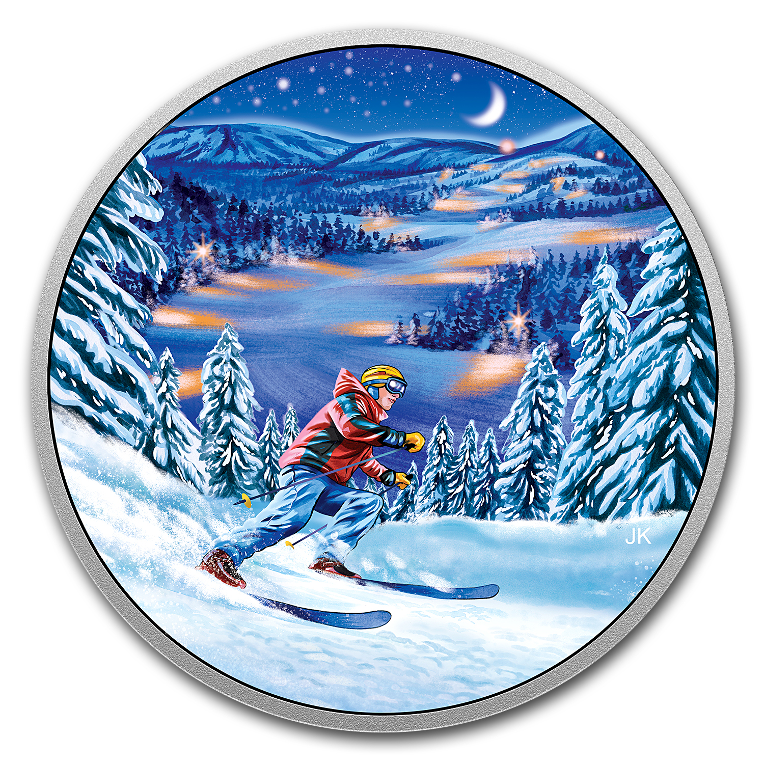 2017 RCM 3/4 oz Silver $15 Great Canadian Outdoors: Night Skiing