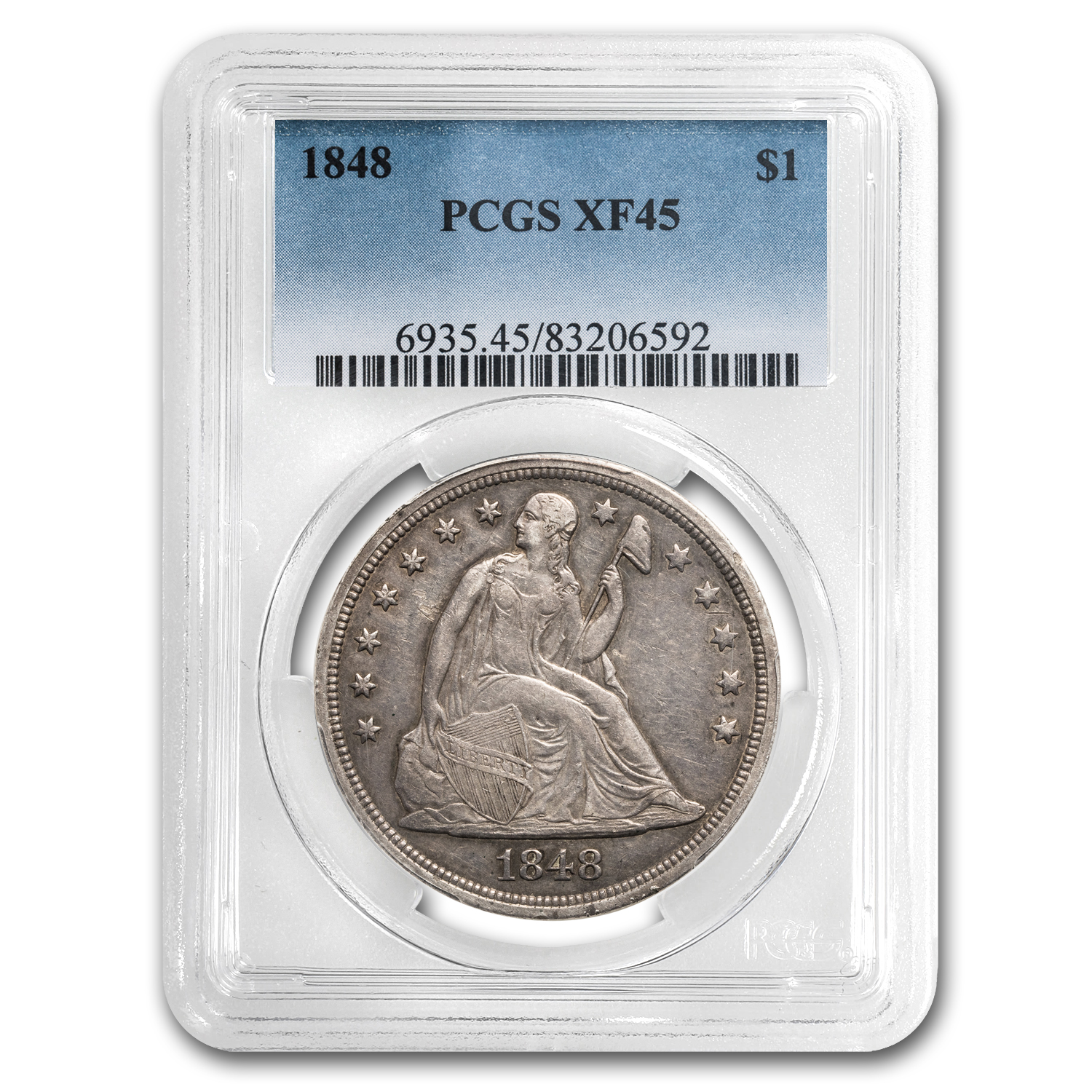 1848 Liberty Seated Dollar XF-45 PCGS