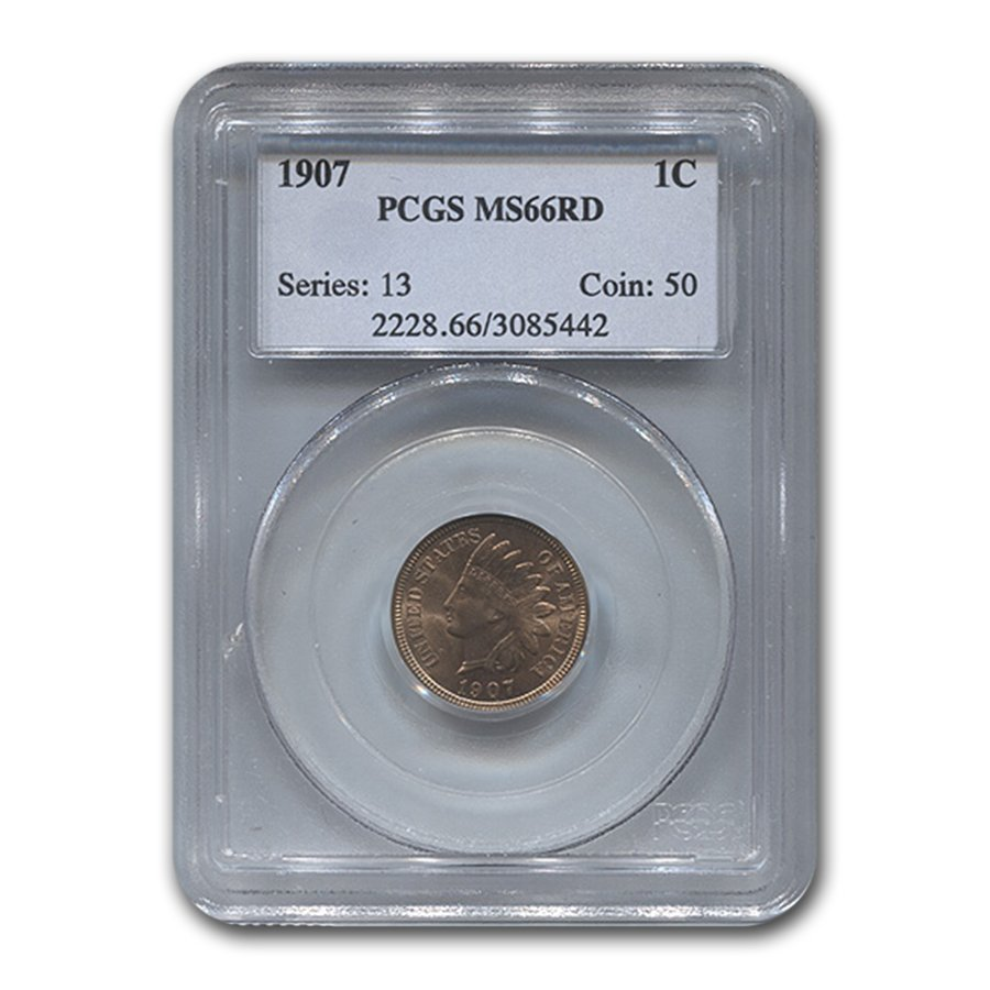 1907 Indian Head Cent MS-66 PCGS (Red)