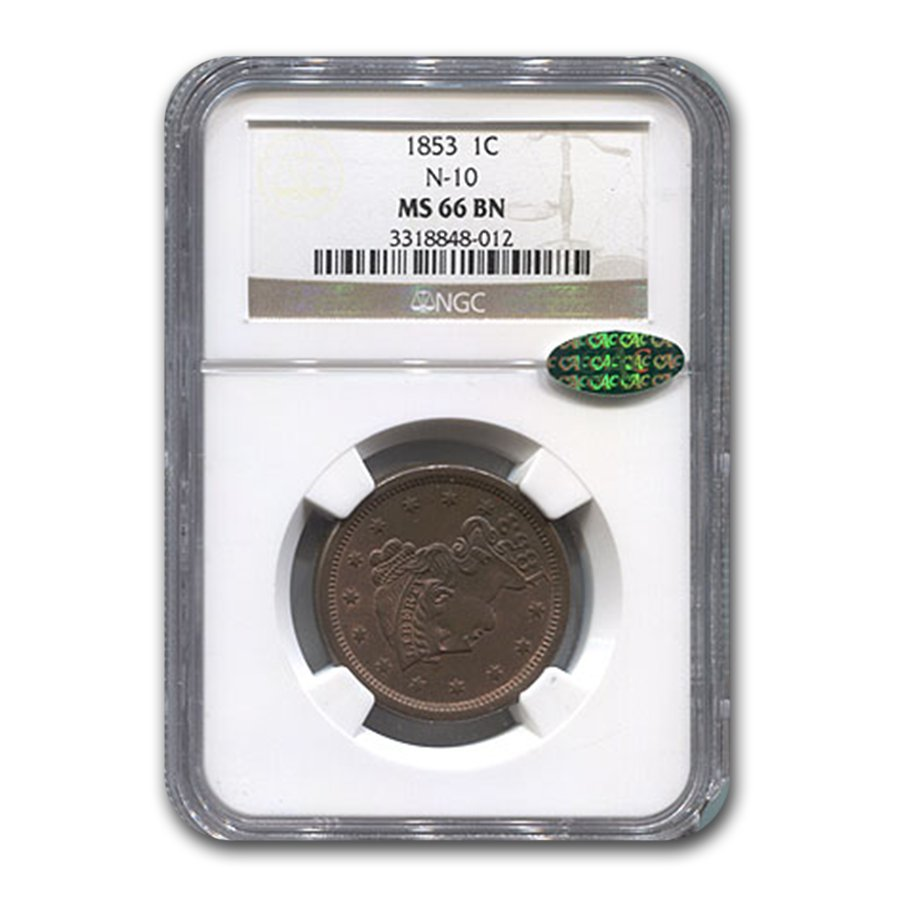 1853 Large Cent MS-66 NGC CAC (Brown, Newcomb 10)