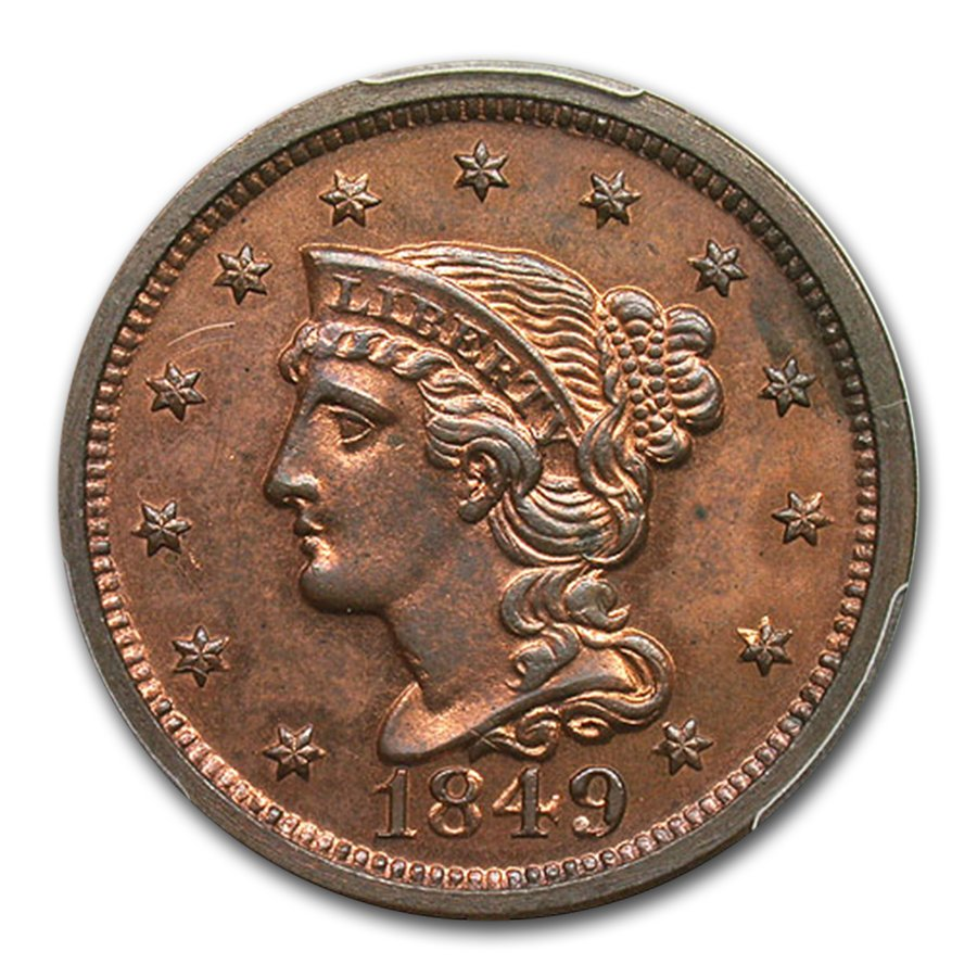 1849 Large Cent PR-64 PCGS (Red/Brown, Newcomb 18)