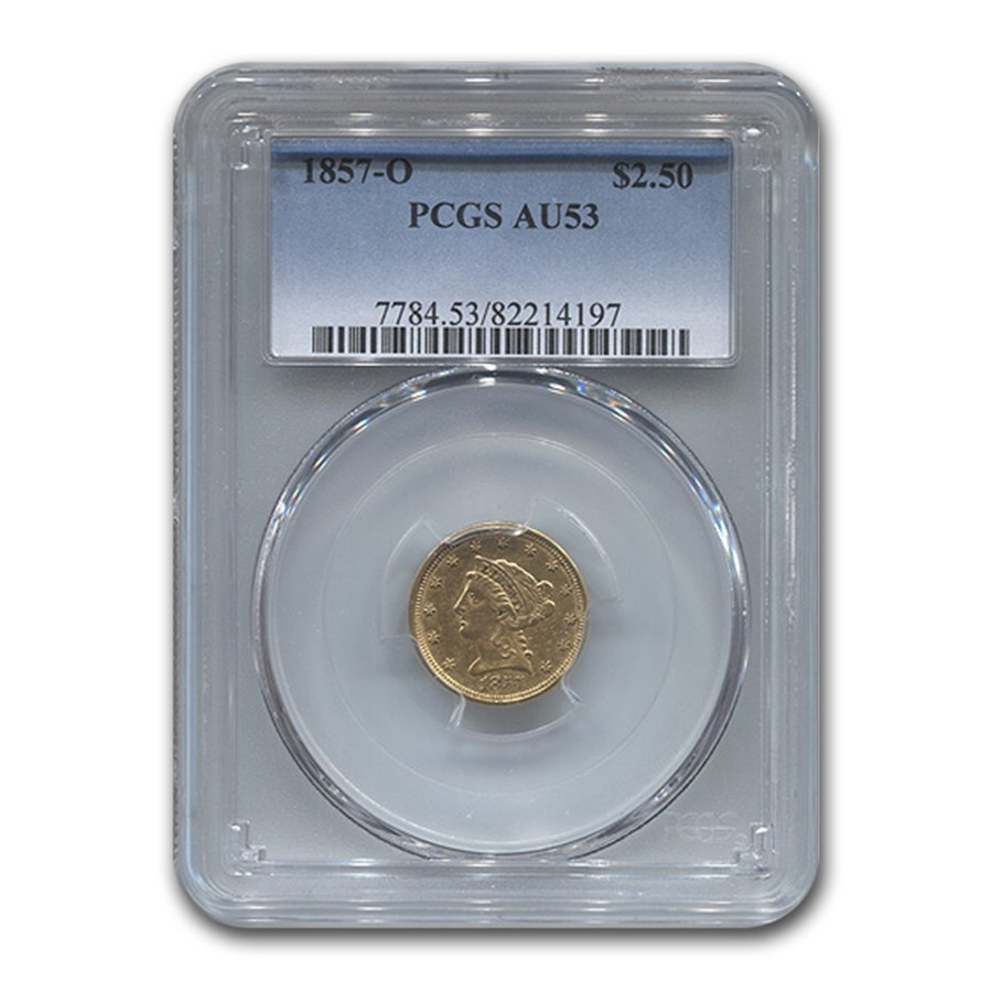 1857-O $2.50 Liberty Gold Quarter Eagle AU-53 PCGS