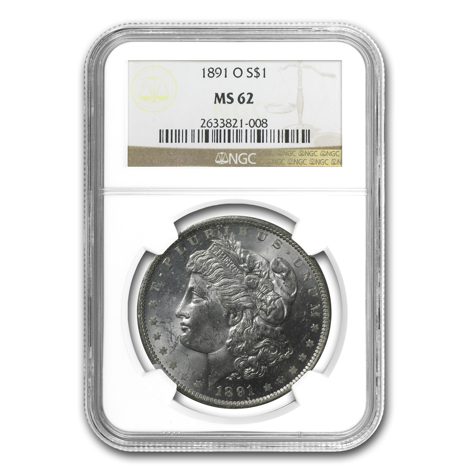 1891-O Morgan Dollar MS-62 NGC