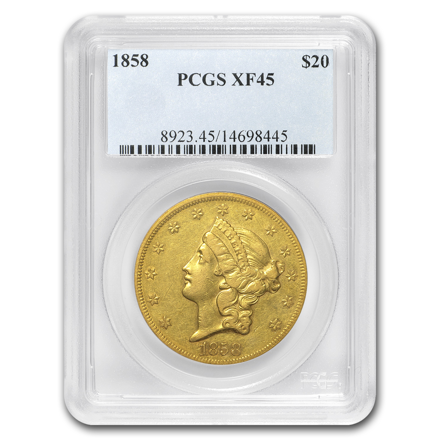 1858 $20 Liberty Gold Double Eagle XF-45 PCGS