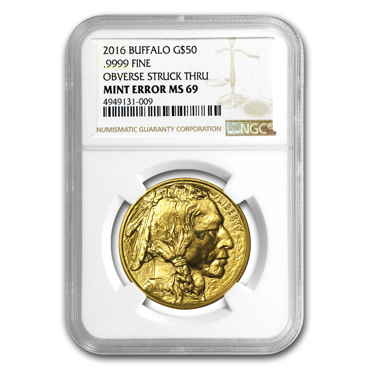 2016 1 oz Gold Buffalo MS-69 NGC (Mint Error, Obv Struck Thru)