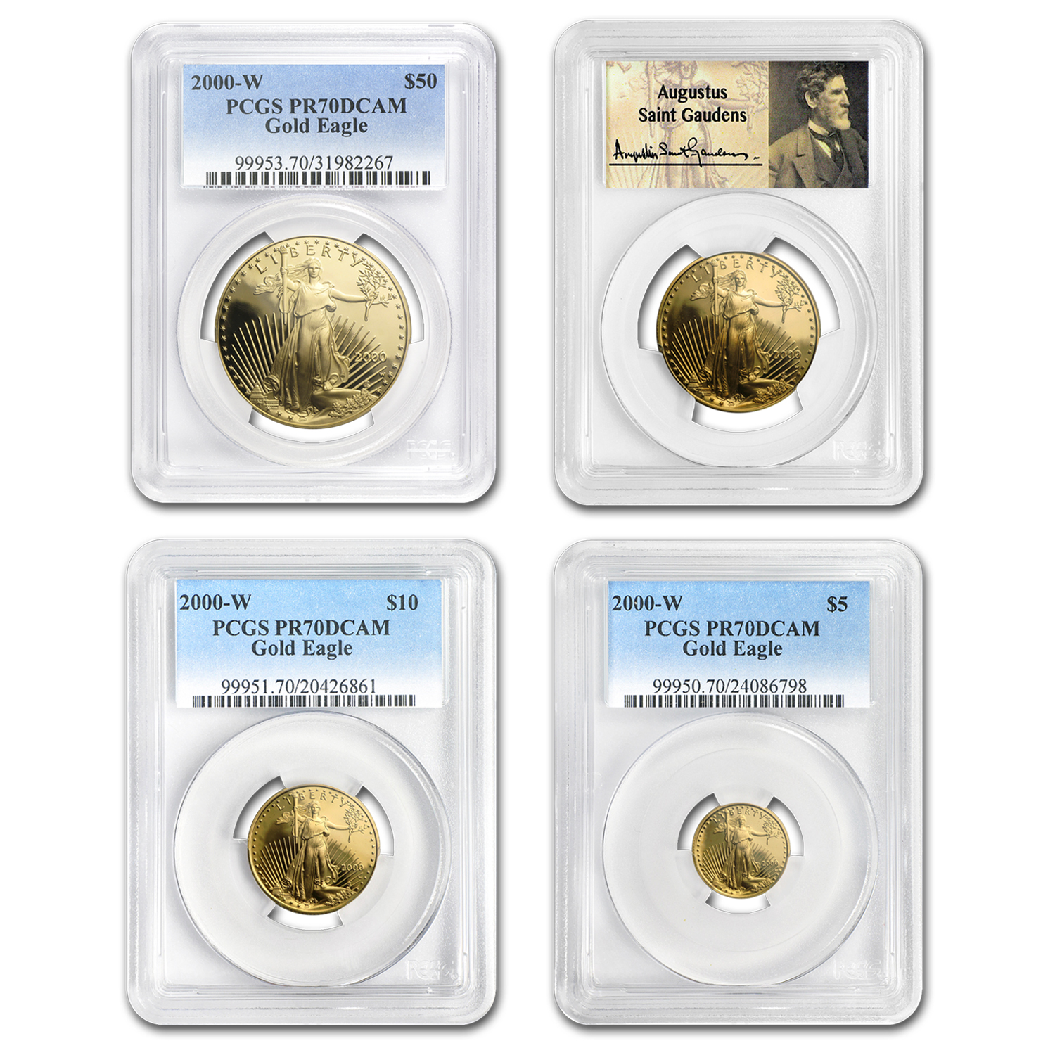 2000-W 4-Coin Proof Gold American Eagle Set PR-70 PCGS